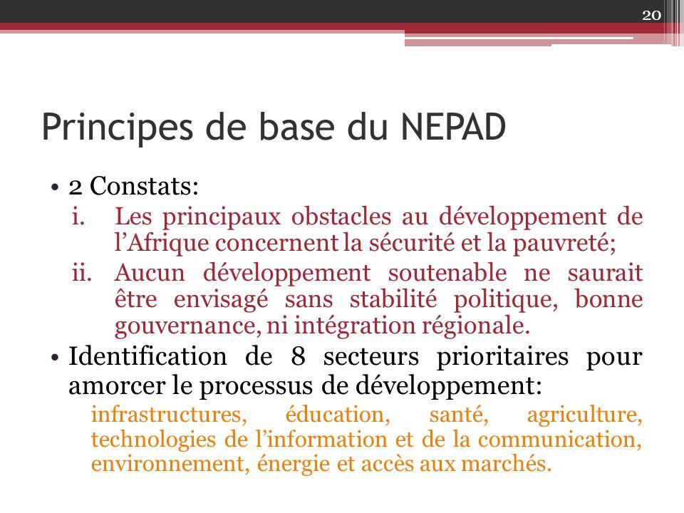 Principes de base du NEPAD 2 Constats: i.Les principaux obstacles au développement de l'Afrique concernent la sécurité et la pauvreté; ii.Aucun dévelo