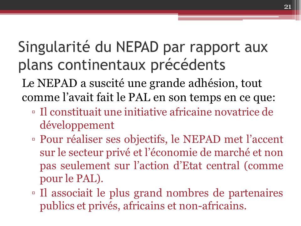 Singularité du NEPAD par rapport aux plans continentaux précédents Le NEPAD a suscité une grande adhésion, tout comme l'avait fait le PAL en son temps
