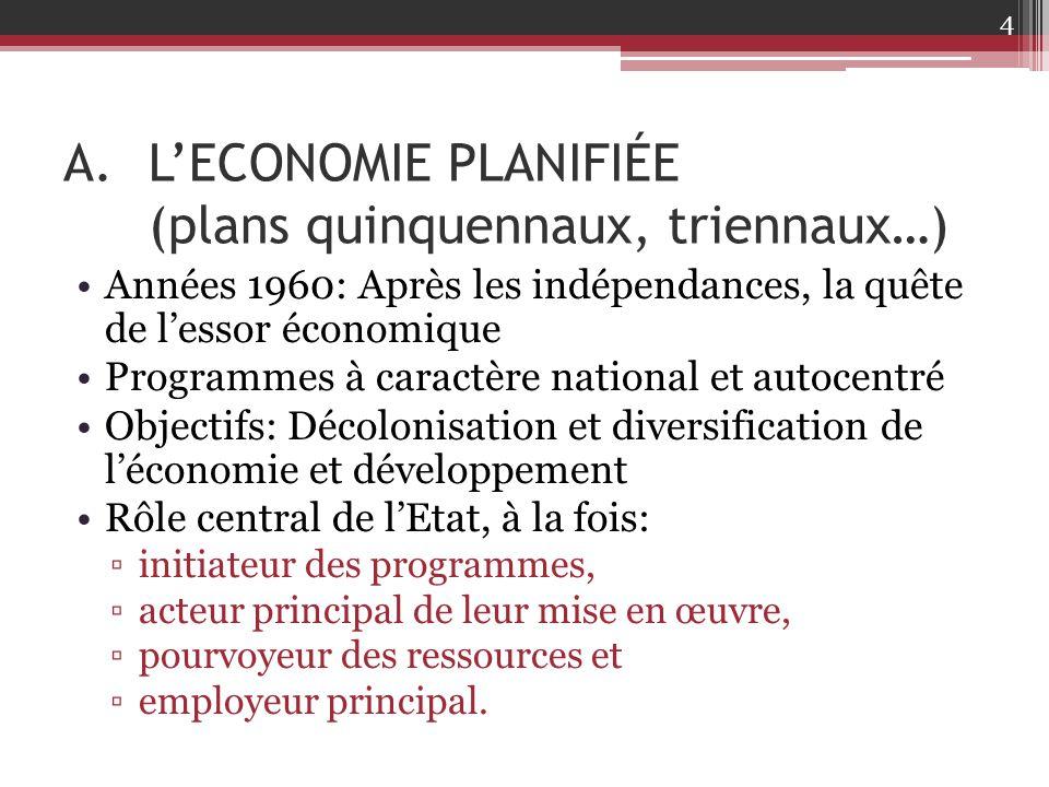 A.L'ECONOMIE PLANIFIÉE (plans quinquennaux, triennaux…) Années 1960: Après les indépendances, la quête de l'essor économique Programmes à caractère na