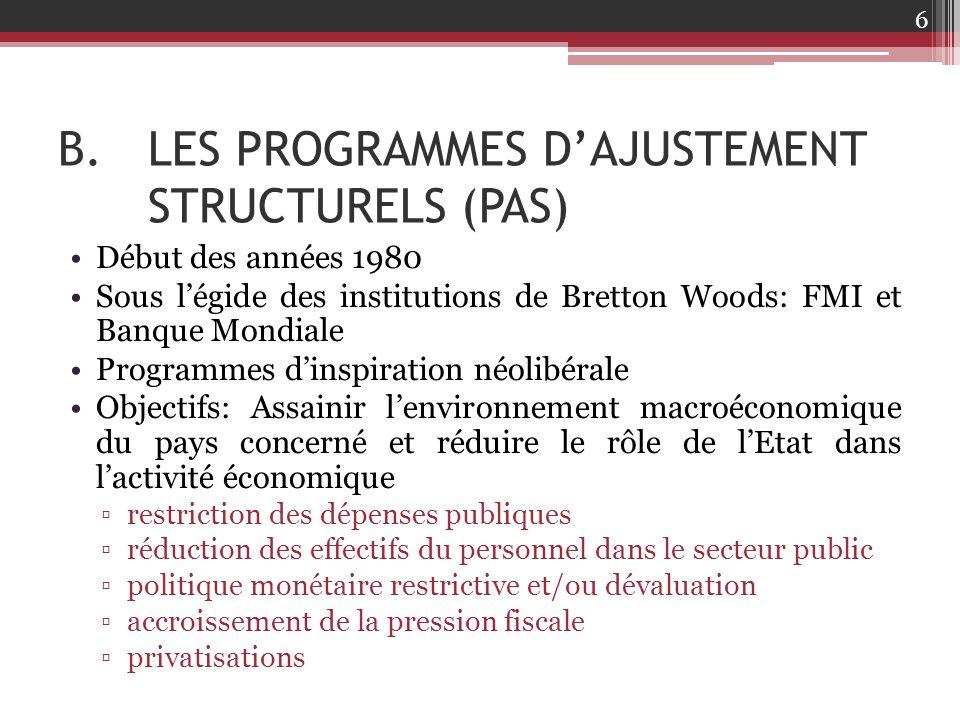B.LES PROGRAMMES D'AJUSTEMENT STRUCTURELS (PAS) Début des années 1980 Sous l'égide des institutions de Bretton Woods: FMI et Banque Mondiale Programme