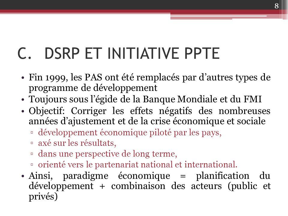 C.DSRP ET INITIATIVE PPTE Fin 1999, les PAS ont été remplacés par d'autres types de programme de développement Toujours sous l'égide de la Banque Mond