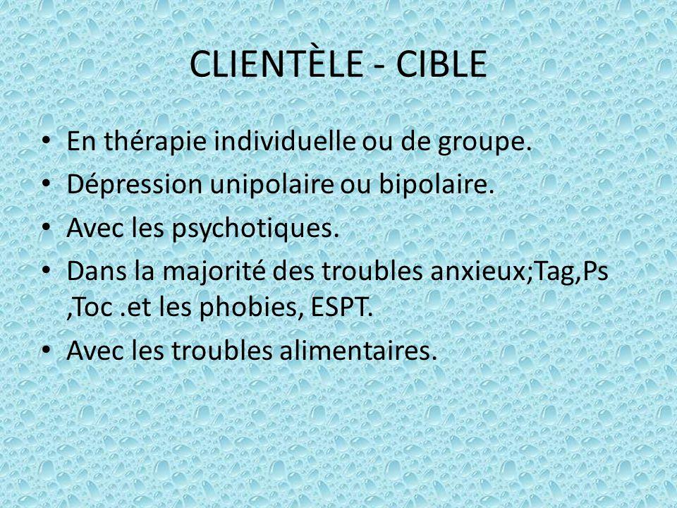 CLIENTÈLE - CIBLE En thérapie individuelle ou de groupe. Dépression unipolaire ou bipolaire. Avec les psychotiques. Dans la majorité des troubles anxi