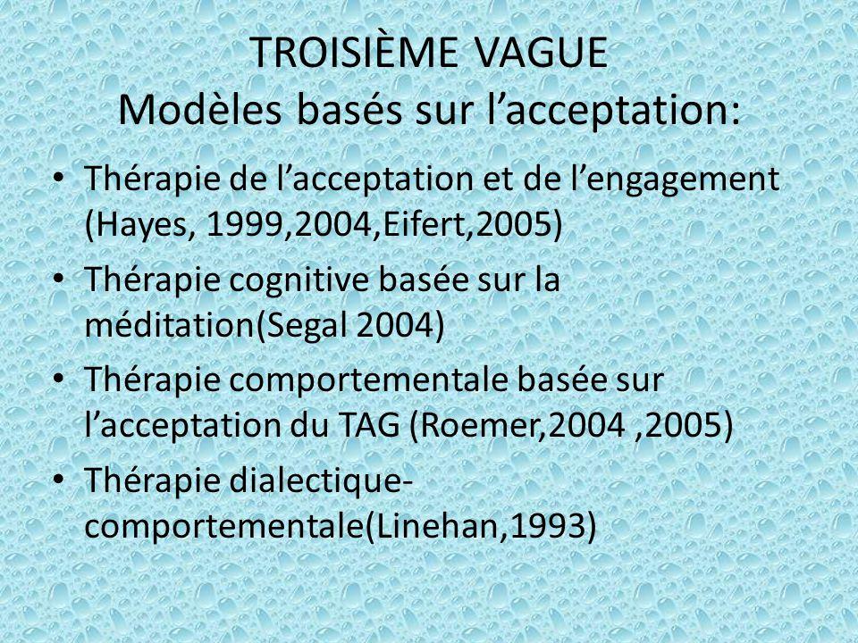 TROISIÈME VAGUE Modèles basés sur l'acceptation: Thérapie de l'acceptation et de l'engagement (Hayes, 1999,2004,Eifert,2005) Thérapie cognitive basée