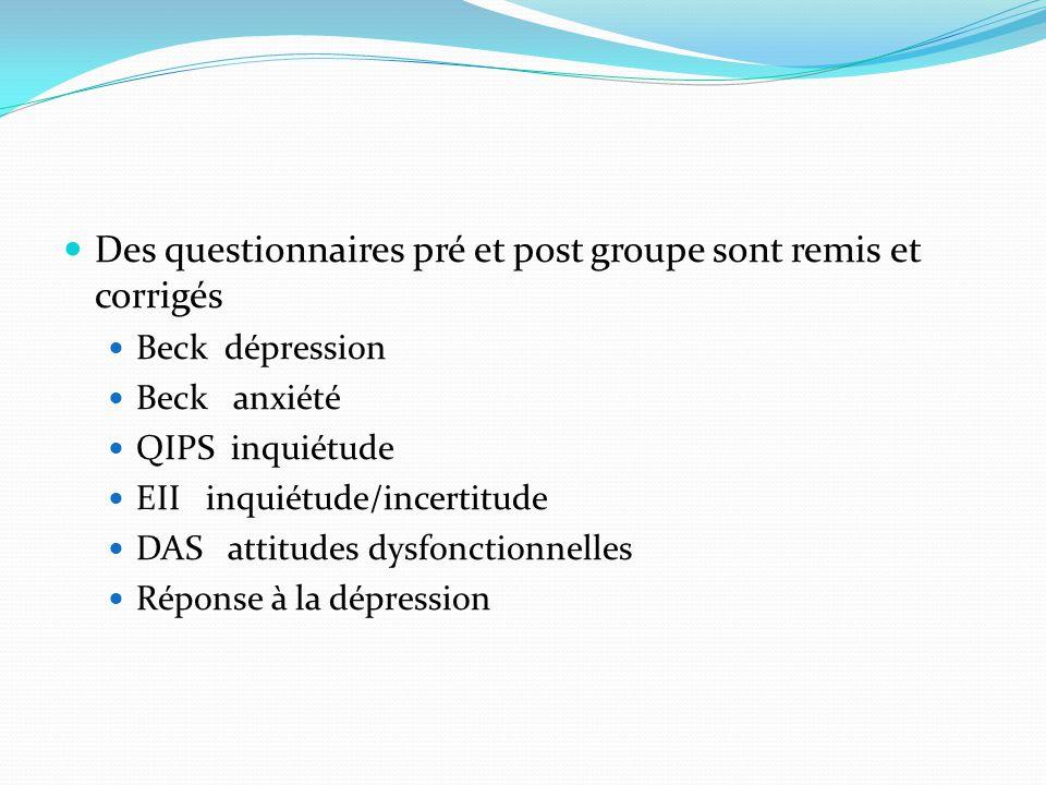 Des questionnaires pré et post groupe sont remis et corrigés Beck dépression Beck anxiété QIPS inquiétude EII inquiétude/incertitude DAS attitudes dys