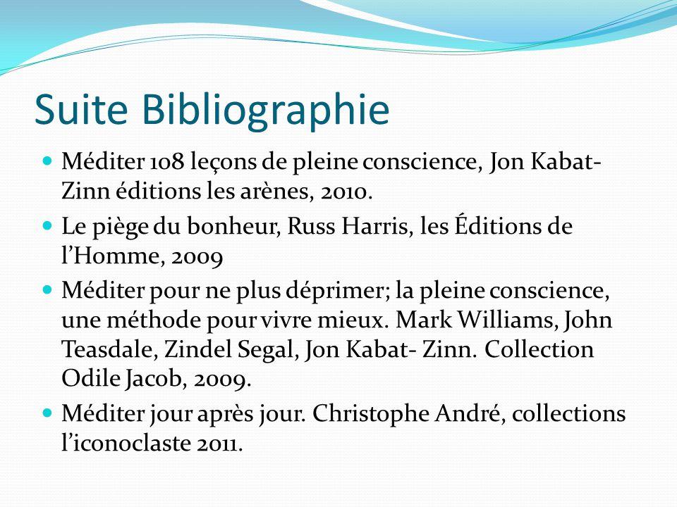 Suite Bibliographie Méditer 108 leçons de pleine conscience, Jon Kabat- Zinn éditions les arènes, 2010. Le piège du bonheur, Russ Harris, les Éditions