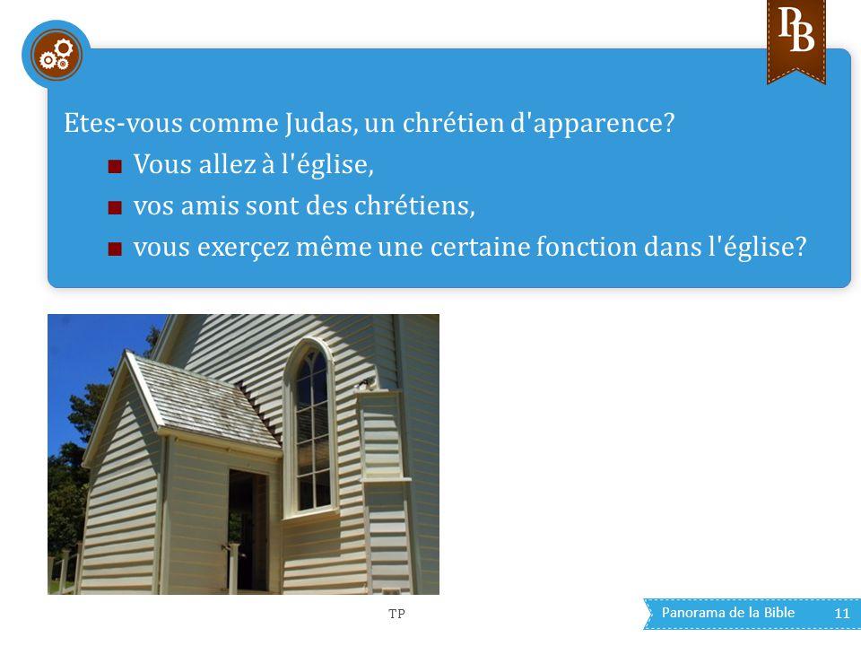 Panorama de la Bible 11 Etes-vous comme Judas, un chrétien d'apparence? ■ Vous allez à l'église, ■ vos amis sont des chrétiens, ■ vous exerçez même un