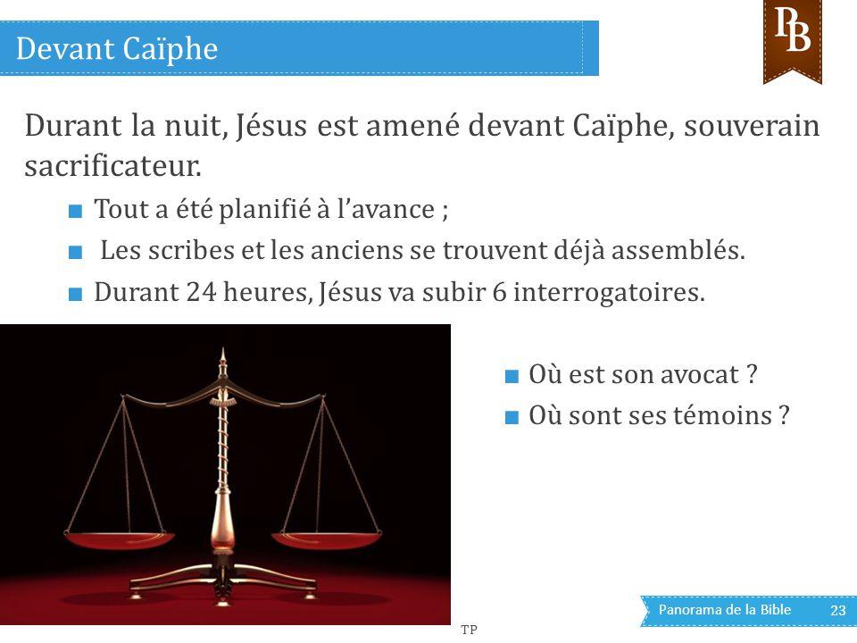 Panorama de la Bible 23 Durant la nuit, Jésus est amené devant Caïphe, souverain sacrificateur. ■ Tout a été planifié à l'avance ; ■ Les scribes et le