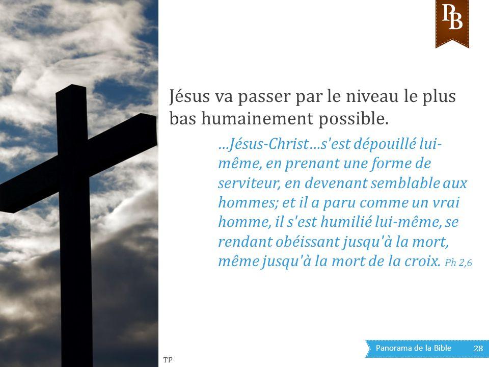 Panorama de la Bible 28 Jésus va passer par le niveau le plus bas humainement possible. …Jésus-Christ…s'est dépouillé lui- même, en prenant une forme