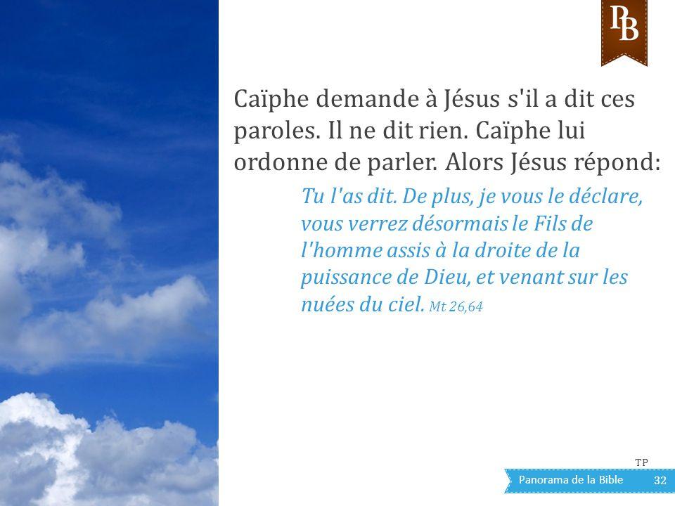 Panorama de la Bible 32 Caïphe demande à Jésus s'il a dit ces paroles. Il ne dit rien. Caïphe lui ordonne de parler. Alors Jésus répond: Tu l'as dit.