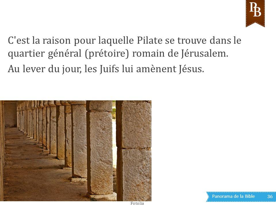 Panorama de la Bible 36 C'est la raison pour laquelle Pilate se trouve dans le quartier général (prétoire) romain de Jérusalem. Au lever du jour, les