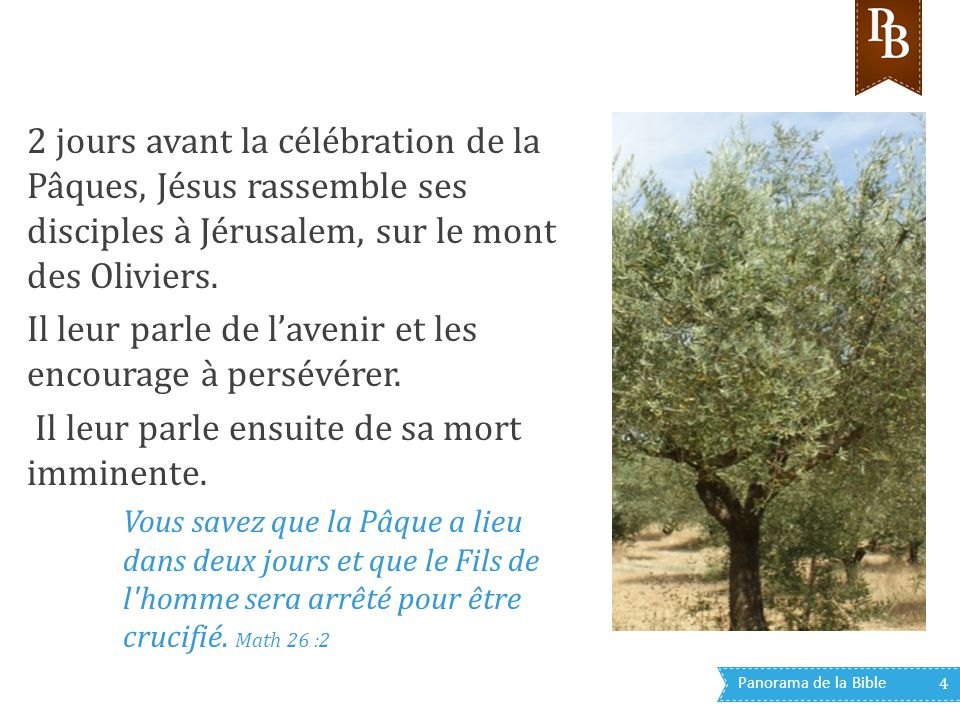 Panorama de la Bible 4 2 jours avant la célébration de la Pâques, Jésus rassemble ses disciples à Jérusalem, sur le mont des Oliviers. Il leur parle d