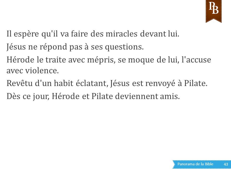 Panorama de la Bible 43 Il espère qu'il va faire des miracles devant lui. Jésus ne répond pas à ses questions. Hérode le traite avec mépris, se moque