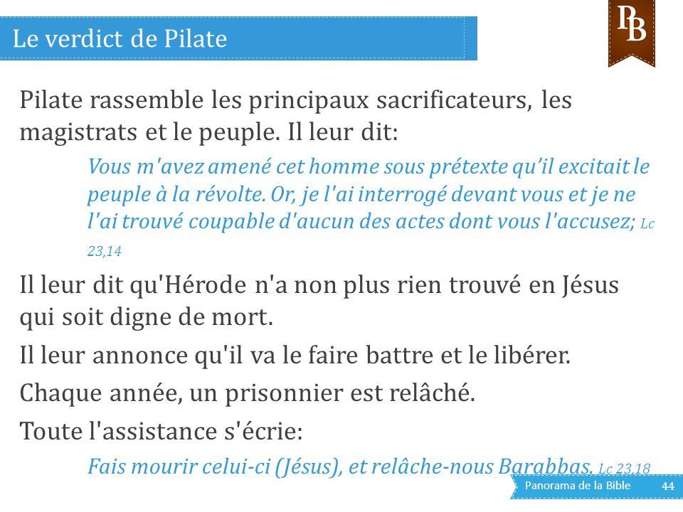 Panorama de la Bible 44 Pilate rassemble les principaux sacrificateurs, les magistrats et le peuple. Il leur dit: Vous m'avez amené cet homme sous pré