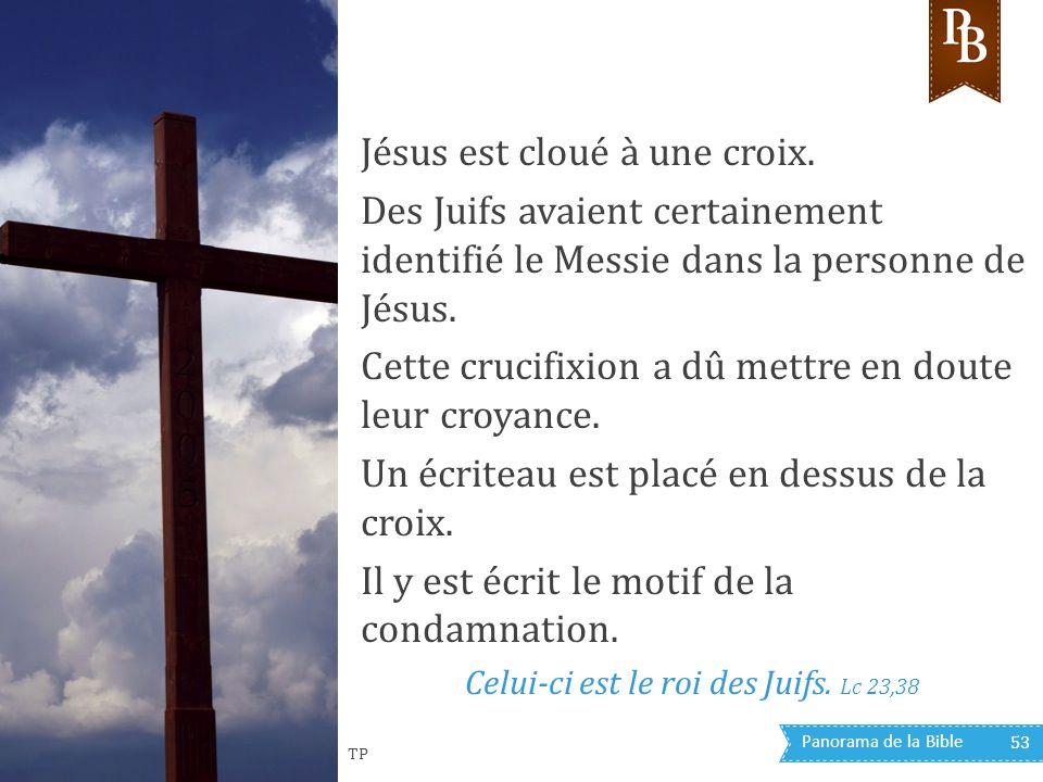 Panorama de la Bible 53 Jésus est cloué à une croix. Des Juifs avaient certainement identifié le Messie dans la personne de Jésus. Cette crucifixion a