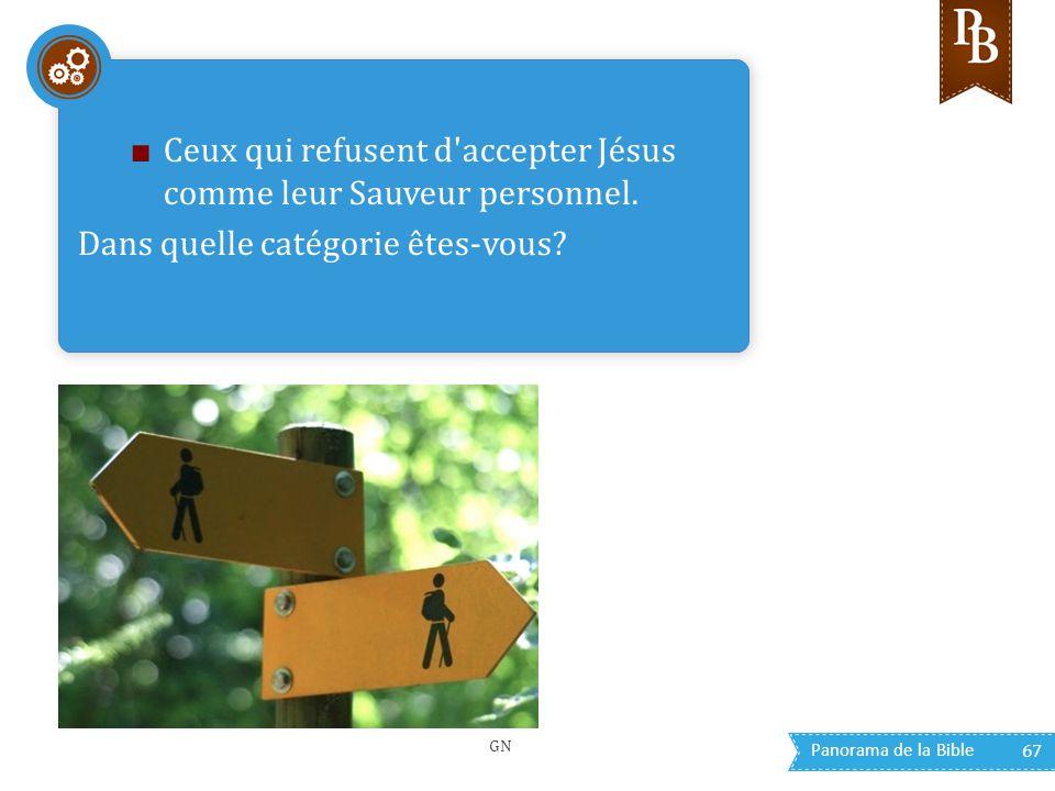 Panorama de la Bible 67 ■ Ceux qui refusent d'accepter Jésus comme leur Sauveur personnel. Dans quelle catégorie êtes-vous? GN