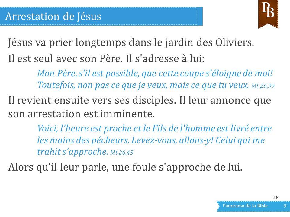 Panorama de la Bible 9 Jésus va prier longtemps dans le jardin des Oliviers. Il est seul avec son Père. Il s'adresse à lui: Mon Père, s'il est possibl