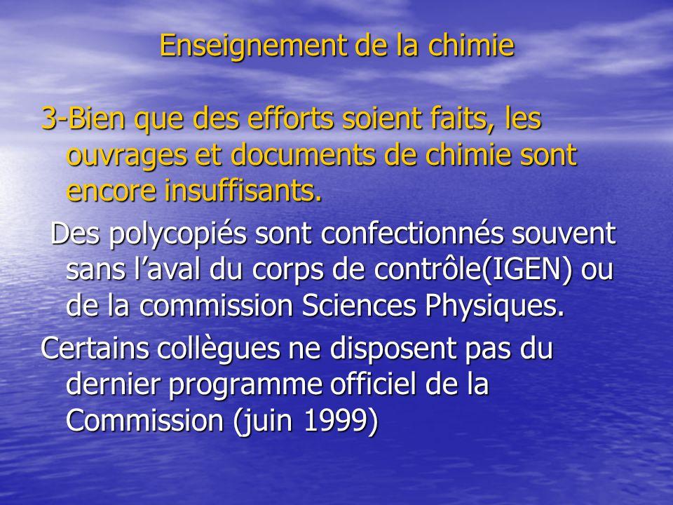 Enseignement de la chimie 3-Bien que des efforts soient faits, les ouvrages et documents de chimie sont encore insuffisants. Des polycopiés sont confe
