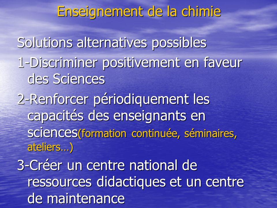 Enseignement de la chimie Solutions alternatives possibles 1-Discriminer positivement en faveur des Sciences 2-Renforcer périodiquement les capacités