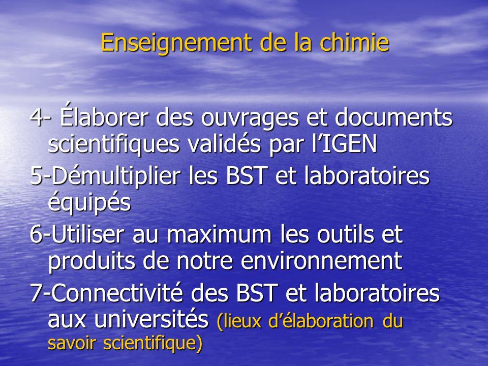 Enseignement de la chimie 4- Élaborer des ouvrages et documents scientifiques validés par l'IGEN 5-Démultiplier les BST et laboratoires équipés 6-Utiliser au maximum les outils et produits de notre environnement 7-Connectivité des BST et laboratoires aux universités (lieux d'élaboration du savoir scientifique)