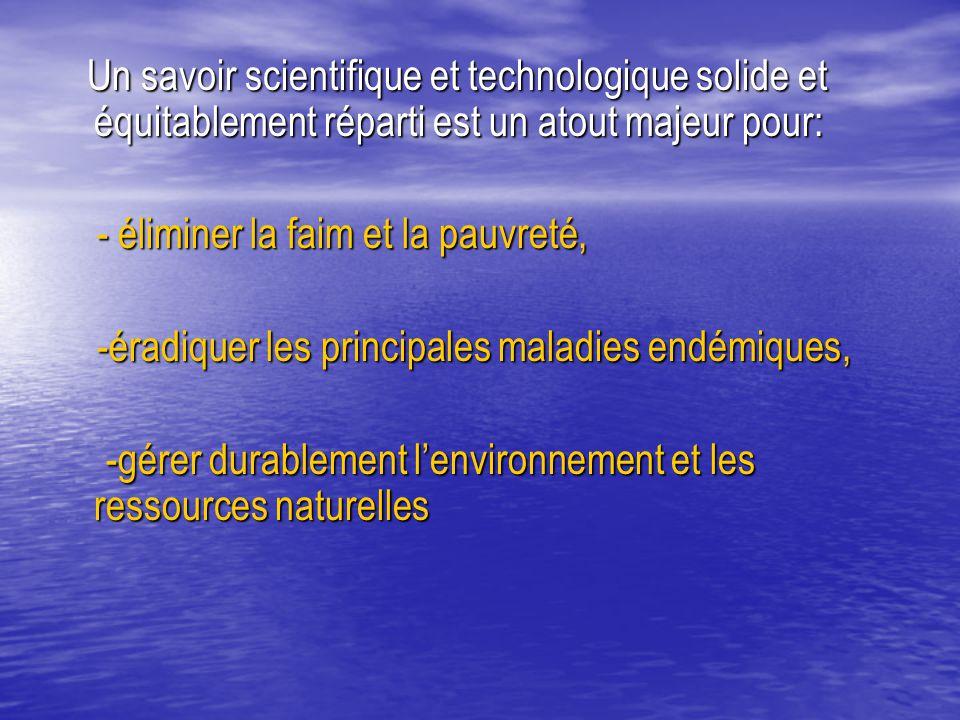 Un savoir scientifique et technologique solide et équitablement réparti est un atout majeur pour: Un savoir scientifique et technologique solide et éq