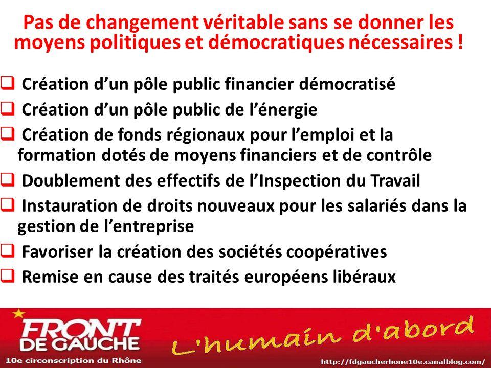 Pas de changement véritable sans se donner les moyens politiques et démocratiques nécessaires !  Création d'un pôle public financier démocratisé  Cr