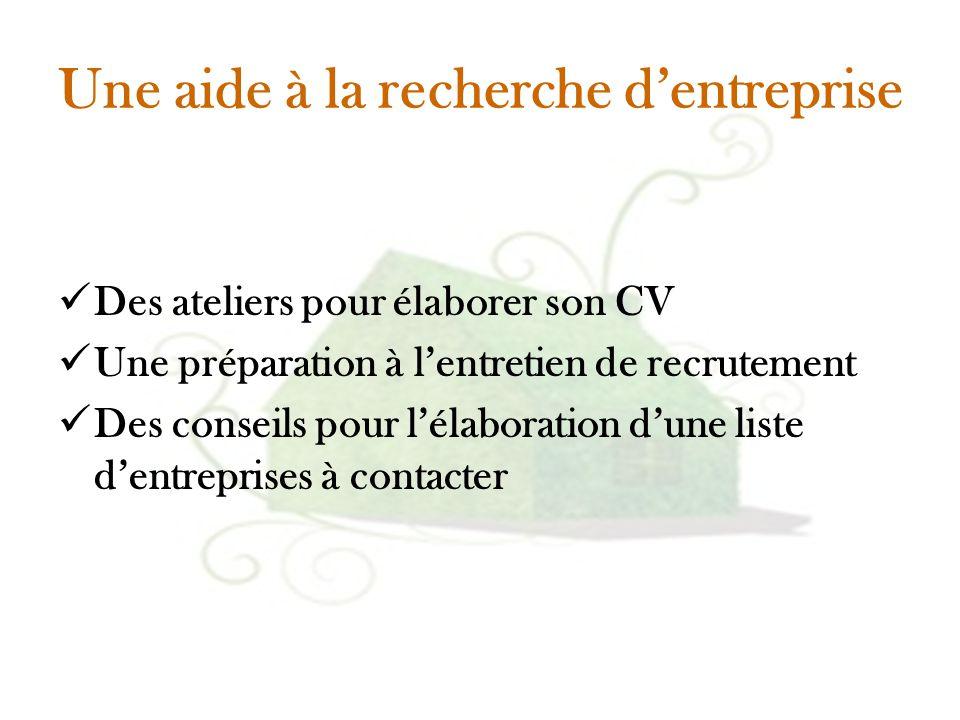 Une aide à la recherche d'entreprise Des ateliers pour élaborer son CV Une préparation à l'entretien de recrutement Des conseils pour l'élaboration d'