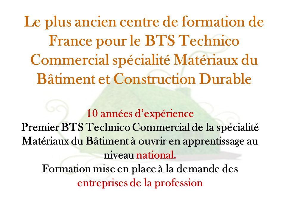 10 années d'expérience Premier BTS Technico Commercial de la spécialité Matériaux du Bâtiment à ouvrir en apprentissage au niveau national. Formation