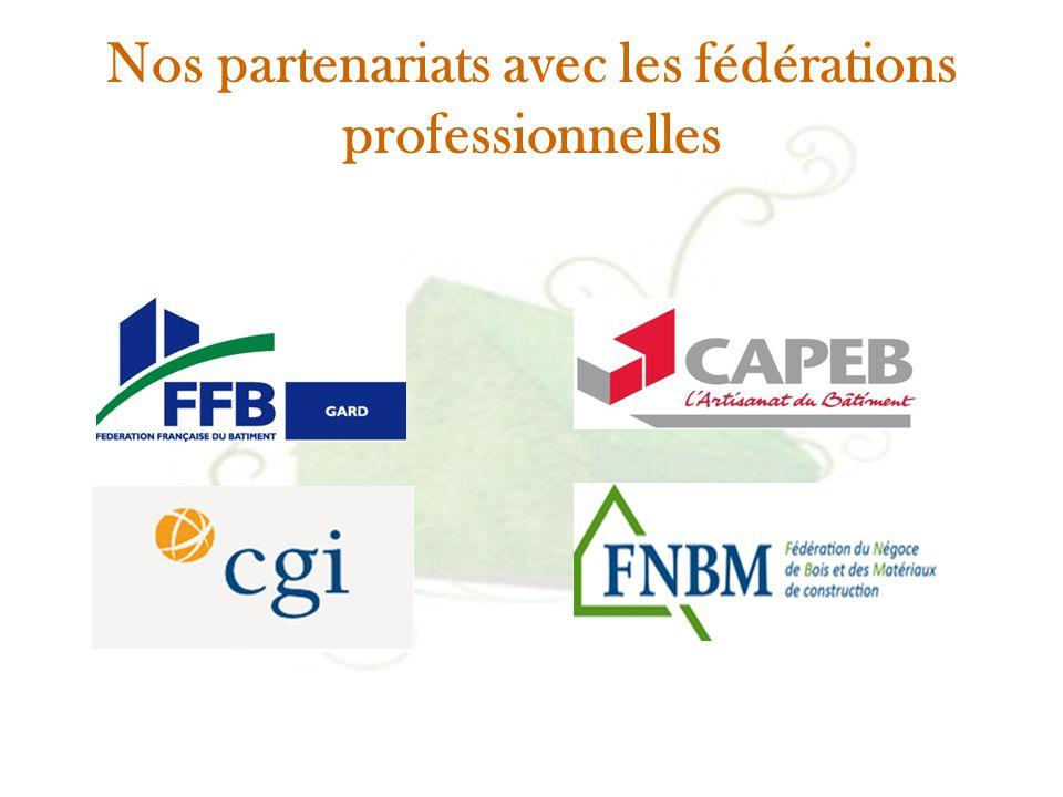 Nos partenariats avec les fédérations professionnelles