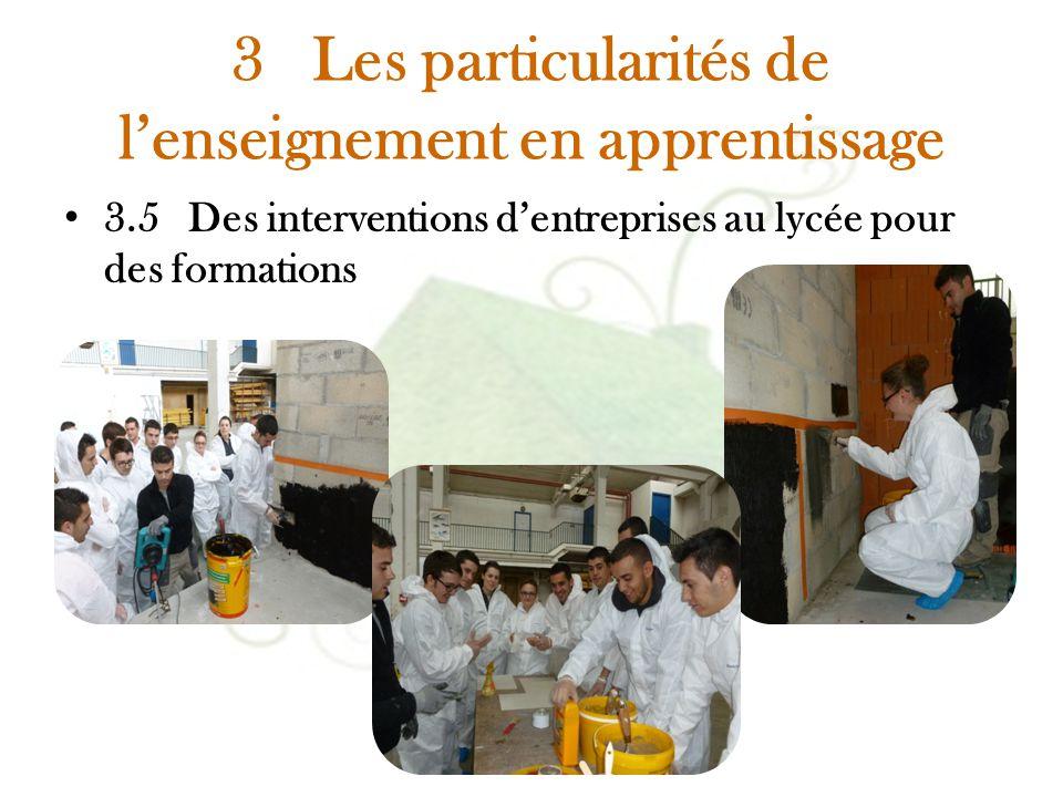 3 Les particularités de l'enseignement en apprentissage 3.5 Des interventions d'entreprises au lycée pour des formations