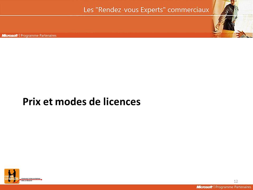 Prix et modes de licences 12
