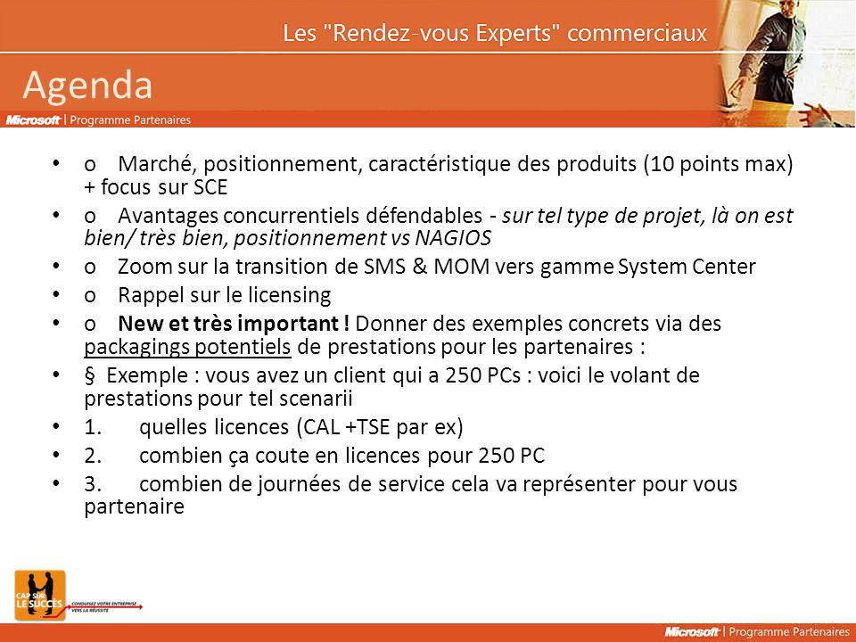 Agenda o Marché, positionnement, caractéristique des produits (10 points max) + focus sur SCE o Avantages concurrentiels défendables - sur tel type de