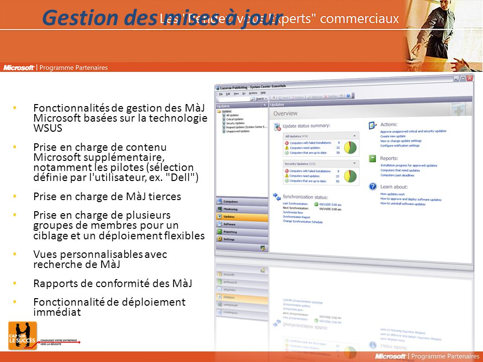 Fonctionnalités de gestion des MàJ Microsoft basées sur la technologie WSUS Prise en charge de contenu Microsoft supplémentaire, notamment les pilotes (sélection définie par l utilisateur, ex.
