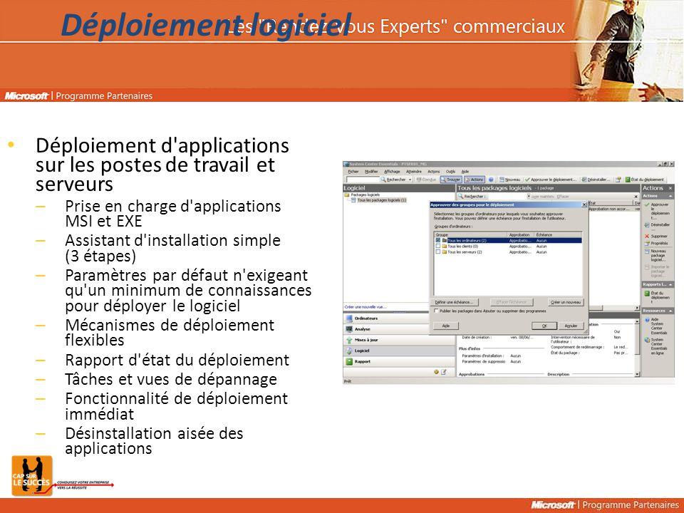 Déploiement d'applications sur les postes de travail et serveurs – Prise en charge d'applications MSI et EXE – Assistant d'installation simple (3 étap