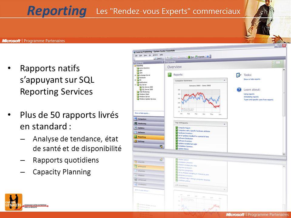 Rapports natifs s'appuyant sur SQL Reporting Services Plus de 50 rapports livrés en standard : – Analyse de tendance, état de santé et de disponibilité – Rapports quotidiens – Capacity Planning Reporting