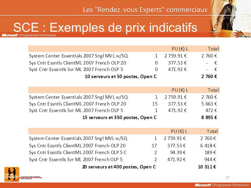 SCE : Exemples de prix indicatifs 27