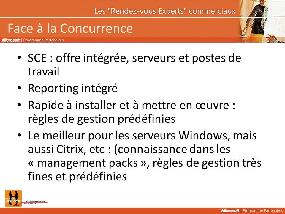 Face à la Concurrence SCE : offre intégrée, serveurs et postes de travail Reporting intégré Rapide à installer et à mettre en œuvre : règles de gestion prédéfinies Le meilleur pour les serveurs Windows, mais aussi Citrix, etc : (connaissance dans les « management packs », règles de gestion très fines et prédéfinies