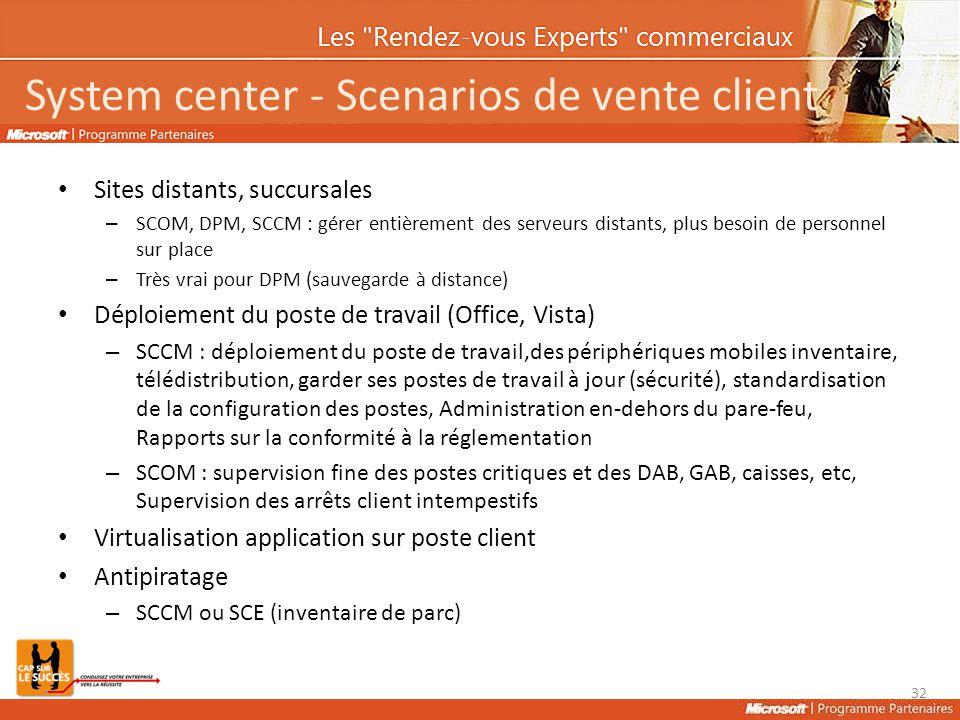 System center - Scenarios de vente client Sites distants, succursales – SCOM, DPM, SCCM : gérer entièrement des serveurs distants, plus besoin de pers