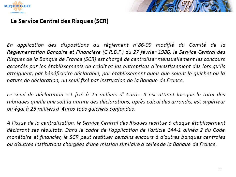 Le Service Central des Risques (SCR) 11 En application des dispositions du règlement n°86-09 modifié du Comité de la Réglementation Bancaire et Financ