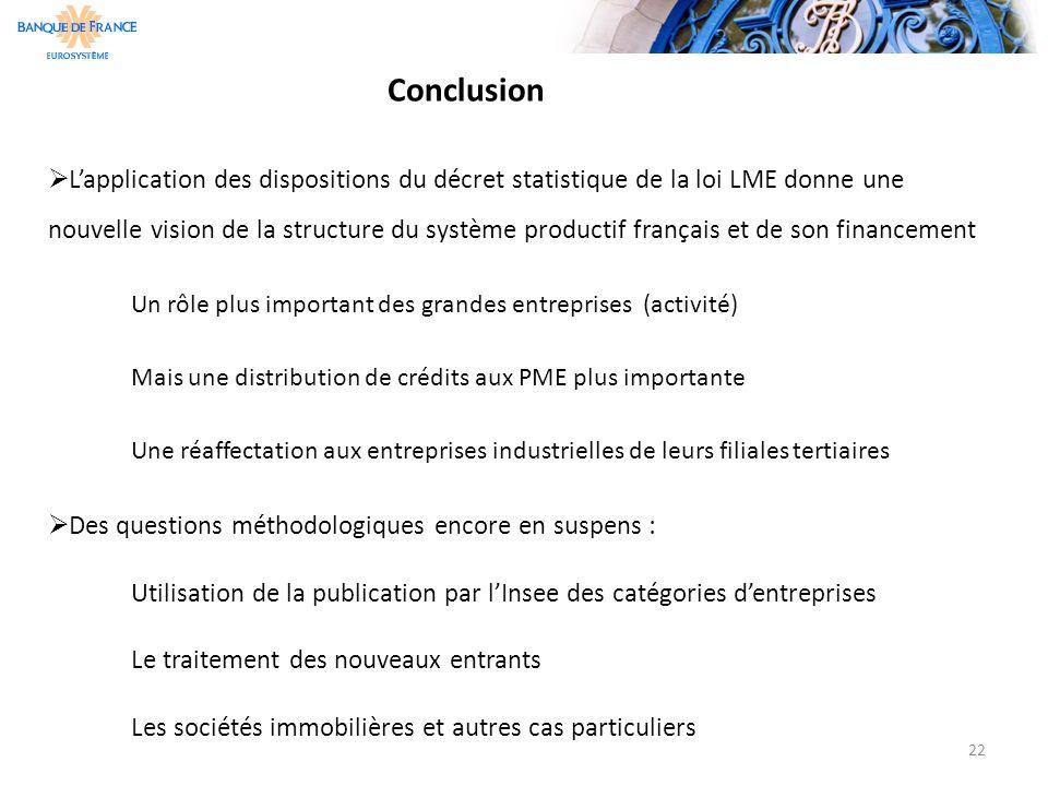 Conclusion  L'application des dispositions du décret statistique de la loi LME donne une nouvelle vision de la structure du système productif françai