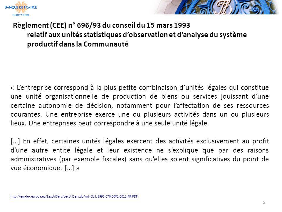 Règlement (CEE) n° 696/93 du conseil du 15 mars 1993 relatif aux unités statistiques d'observation et d'analyse du système productif dans la Communaut