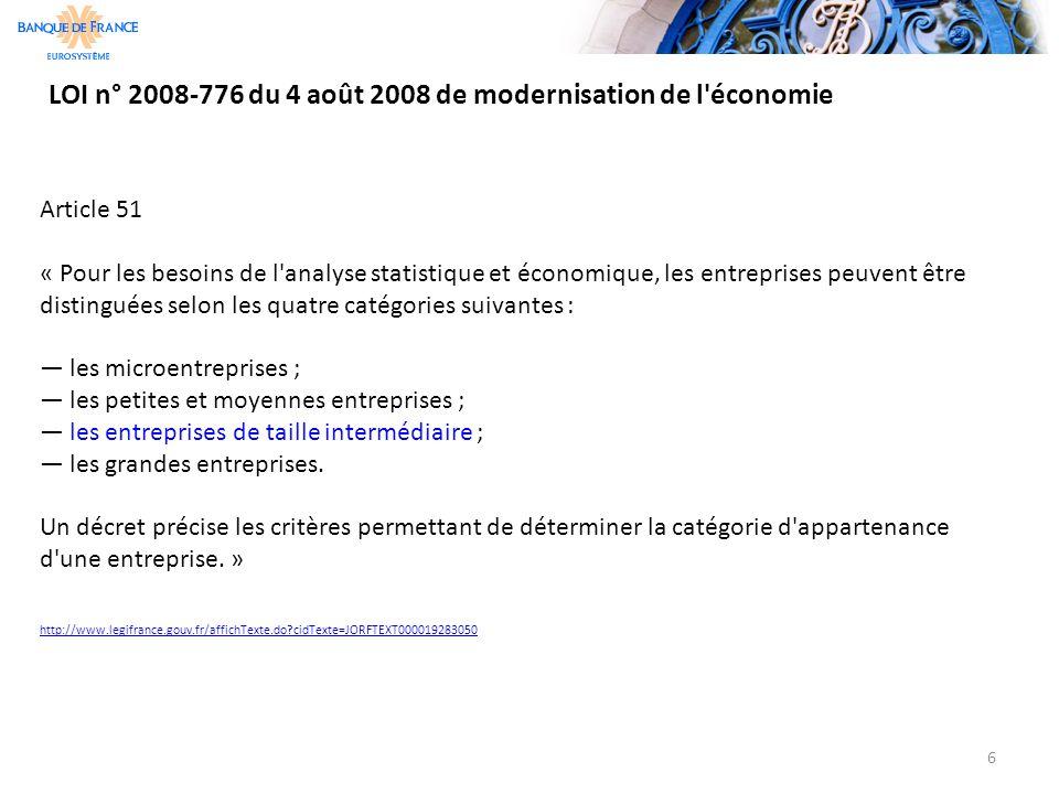 LOI n° 2008-776 du 4 août 2008 de modernisation de l'économie 6 Article 51 « Pour les besoins de l'analyse statistique et économique, les entreprises