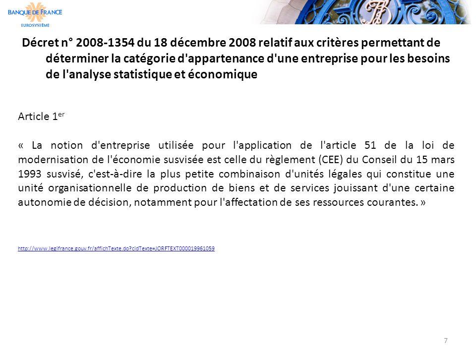 Décret n° 2008-1354 du 18 décembre 2008 relatif aux critères permettant de déterminer la catégorie d'appartenance d'une entreprise pour les besoins de