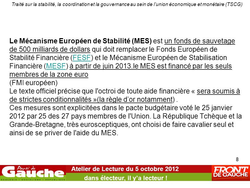 Le Mécanisme Européen de Stabilité (MES) est un fonds de sauvetage de 500 milliards de dollars qui doit remplacer le Fonds Européen de Stabilité Financière (FESF) et le Mécanisme Européen de Stabilisation Financière (MESF) à partir de juin 2013.le MES est financé par les seuls membres de la zone euro (FMI européen) Le texte officiel précise que l octroi de toute aide financière « sera soumis à de strictes conditionnalités »(la règle d'or notamment).