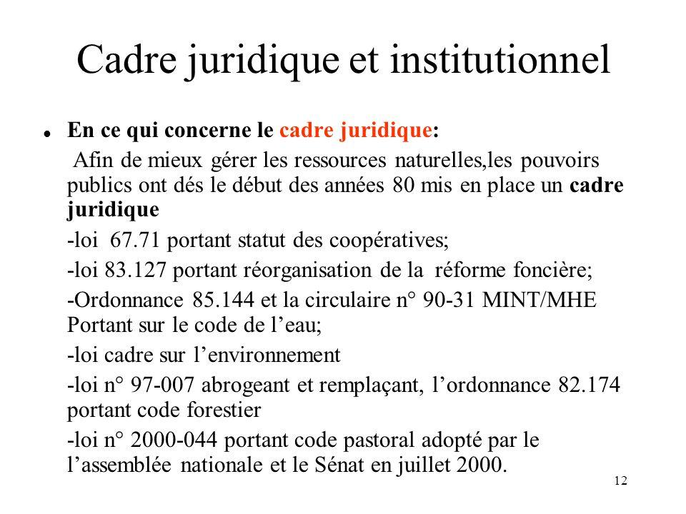 13 Cadre juridique et institutionnel (suite) En ce qui concerne le cadre institutionnel : -Comité National Environnement Développement (CNED): interministériel, présidé par le MDRE; -Comité Technique Environnement Développement (CTED), -Conseils Régionaux Environnement Développement (CRED), présidés par les Wallis Ce cadre institutionnel est peu opérationnel au niveau national.Qu'en est –il au niveau régional et local.