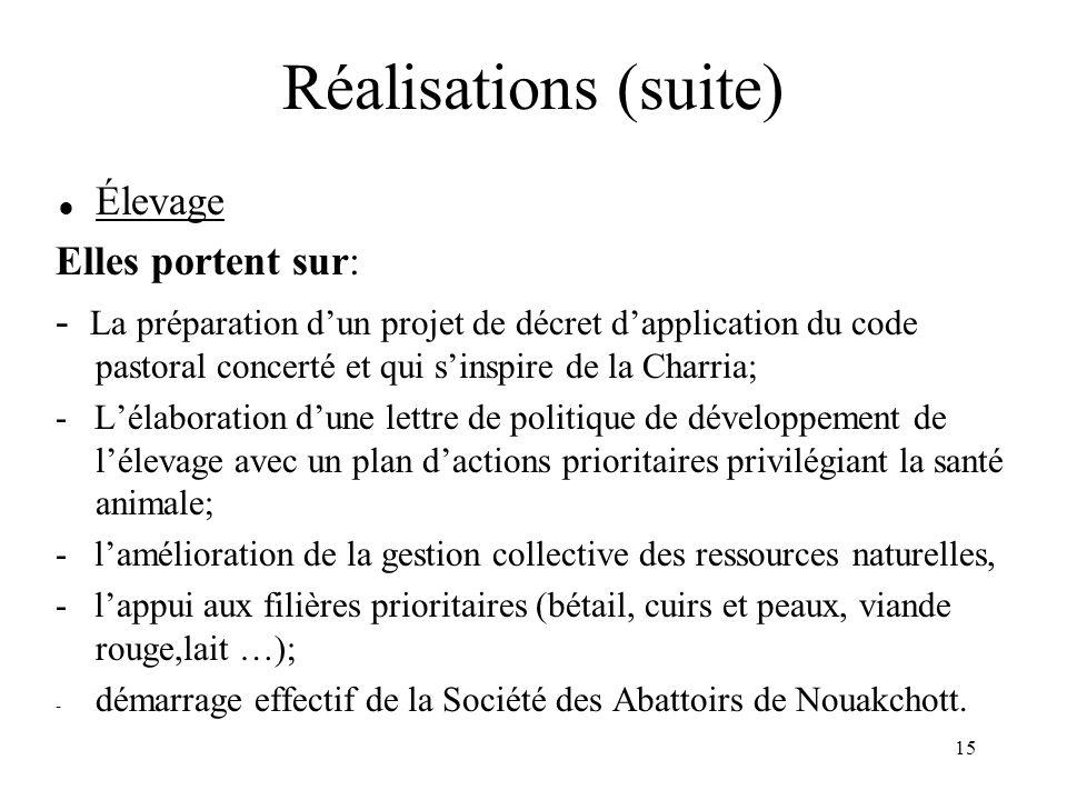16 Réalisations (suite)  Environnement : -La validation de la stratégie et du programme d'actions national relatif à la biodiversité et sur celui de la LCD; -La systématisation des études d'impact environnemental pour tous les programmes et projets; - La mise en œuvre du processus d'harmonisation des textes législatifs et réglementaires nationaux avec les conventions internationales ratifiés par la Mauritanie et leur adaptation à la Charria et aux coutumes locales; - L'élaboration d'un schéma directeur de l'approvisionnement a préparation du rapport national sur l'inventaire national sur la Biodiversité.