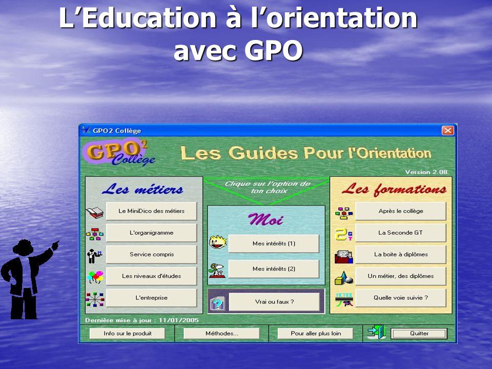 L'Education à l'orientation avec GPO