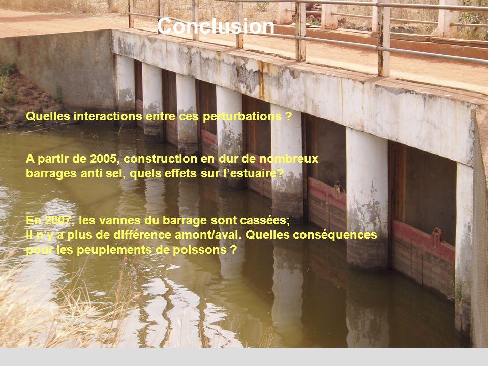12 En 2007, les vannes du barrage sont cassées; il n'y a plus de différence amont/aval.