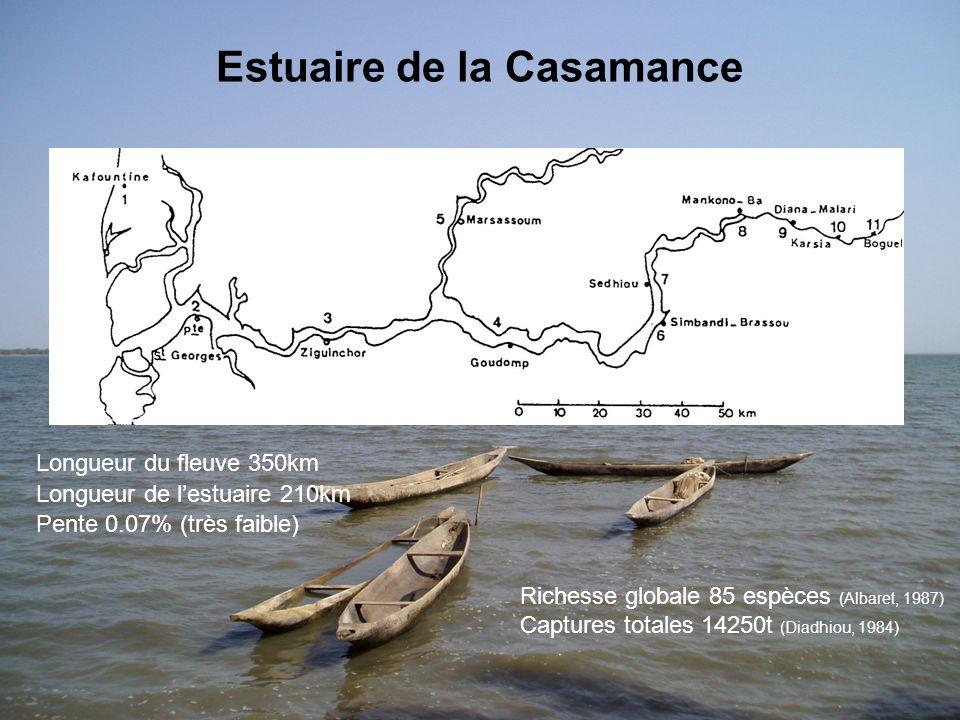 2 Estuaire de la Casamance Longueur du fleuve 350km Longueur de l'estuaire 210km Pente 0.07% (très faible) Richesse globale 85 espèces (Albaret, 1987) Captures totales 14250t (Diadhiou, 1984)
