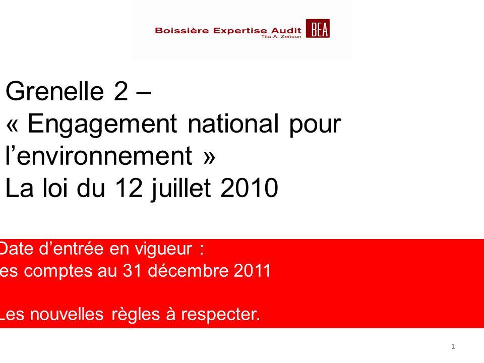 Grenelle 2 – « Engagement national pour l'environnement » La loi du 12 juillet 2010 Date d'entrée en vigueur : les comptes au 31 décembre 2011 Les nou