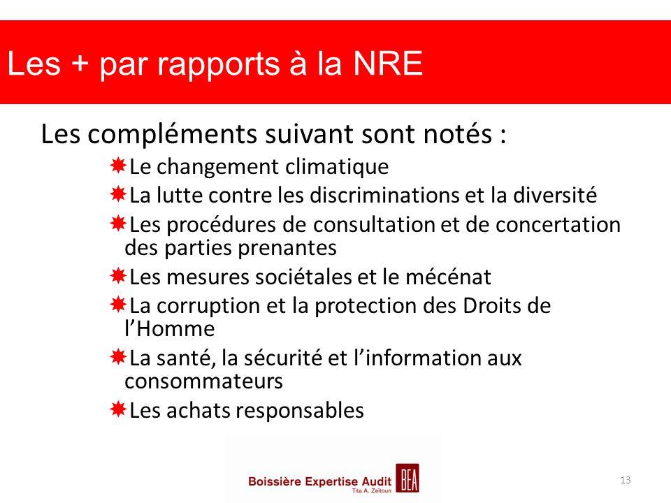 Les + par rapports à la NRE Les compléments suivant sont notés :  Le changement climatique  La lutte contre les discriminations et la diversité  Le